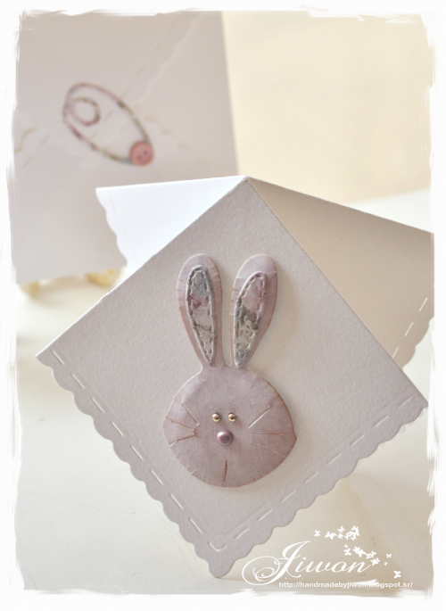 Rabbit handkerchief card