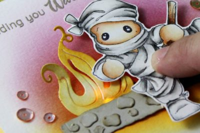 Ninja sending a Warm Thought | A card with LED light